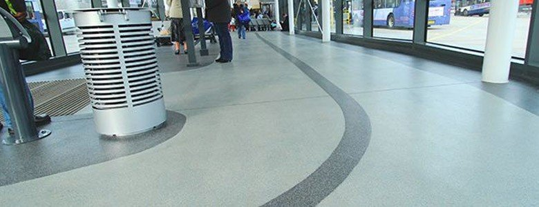 decorative flooring in a transport area