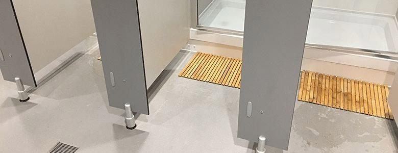 hygienic flooring in shower cubicles